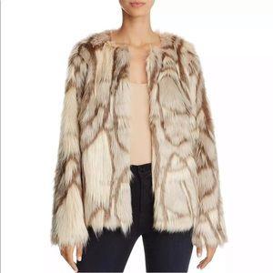 Freeway beige multi fur faux coat NWT medium sharp
